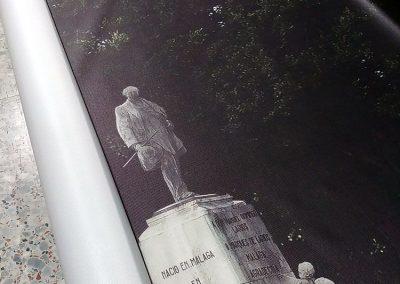 Lonas microperforadas para el pedestal del Marqués de Larios